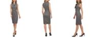 Calvin Klein Ponté-Knit Plaid Tie-Neck Dress