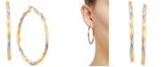 Macy's Medium Two-Tone Twist Earrings in 14k Gold & White Rhodium-Plate