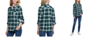 Tommy Hilfiger Plaid Cotton Roll-Tab-Sleeve Top