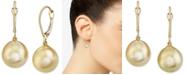 Macy's Cultured Golden South Sea Oval Pearl (11mm) Drop Earrings In 14k Gold