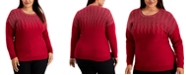 Alfani Plus Size Sparkle Lightweight Long-Sleeve Sweater, Created for Macy's