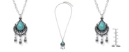 Macy's Simulated Turquoise in Silver Plated Pear Chandelier Pendant Necklace