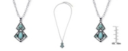 Macy's Simulated Turquoise in Silver Plated Diagonal Pendant Necklace