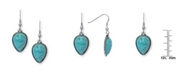 Macy's Simulated Turquoise in Silver Plated Pear Drop Wire Earrings