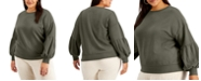 FULL CIRCLE TRENDS Trendy Plus Size Puff-Sleeve Sweatshirt
