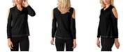 Belldini Black Label Women's Plus Size Metallic Studded Cowl Neck Knit Top