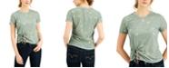 Self Esteem Juniors' Printed Tie-Front T-Shirt