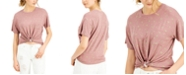 Self Esteem Juniors' Cactus Printed Knot-Front Ringer T-Shirt