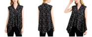 Alfani Printed Asymmetrical-Hem Sleeveless Top, Created for Macy's