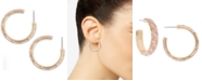 """Charter Club Gold-Tone Small Pavé & Stripe Open Hoop Earrings, 1"""", Created for Macy's"""