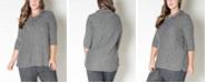 COIN 1804 Women's Plus Size Stripe Cozy Top