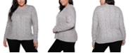 Belldini Black Label Plus Size Crew Neck Exploded-Cable Pullover Sweater