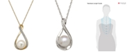 """Macy's Cultured Freshwater Pearl (9mm) and Diamond Accent Pendant 18"""" Necklace in 14k Gold"""