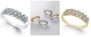 Macy's Diamond Multi-Row Band (1/5 ct. t.w.) in 10K White or Yellow Gold (Sizes 5-8)