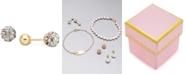 Macy's Children's Multi-Crystal Ball Stud Reversible Earrings in 14k Gold