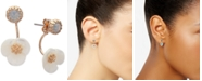 lonna & lilly Gold-Tone White Flower Front and Back Earrings