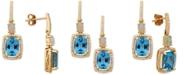 Macy's Multi-Gemstone (3-3/4 ct. t.w.) & Diamond (1/5 ct. t.w.) Drop Earrings in 10k Gold