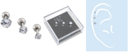 INC International Concepts I.N.C. Stainless Steel 3-Pc. Set Multi-Stone Size Cartilage Studs, Created for Macy's