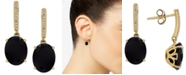 Honora Style Onyx (9 x 7mm) & Diamond Accent Drop Earrings in 14k Gold