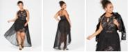 Morgan & Company Plus Size Chiffon-Overlay Lace Dress