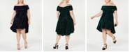 Morgan & Company Trendy Plus Size Velvet Off-The-Shoulder Dress
