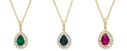 "Macy's Emerald (3/4 ct. t.w.) & Diamond (1/4 ct. t.w.) 16"" Pendant Necklace in 14k Gold (Also Available in Certified Ruby & Sapphire)"