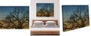 "Creative Gallery Tree Silhouette Sunset On Wood Pattern 16"" X 20"" Canvas Wall Art Print"