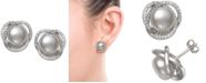 Macy's Cultured Freshwater Pearl (9mm) & Cubic Zirconia Spiral Stud Earrings in Sterling Silver