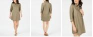 Karen Scott Petite Cotton Split-Neck Shift Dress, Created For Macy's