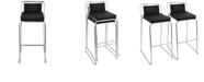Lumisource Cascade Stackable Barstool in Faux Leather Set of 2