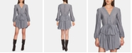 1.STATE Long-Sleeve Cinched-Waist Striped Dress