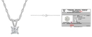 Macy's Certified Princess Cut Diamond Solitaire Pendant Necklace (1/4 ct. t.w.) in 14k White Gold or Yellow Gold