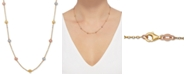 "Italian Gold Tricolor Textured Ball Link 18"" Statement Necklace in 14k Gold, White Gold, & Rose Gold"