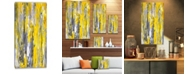 """Design Art Designart Grey And Yellow Abstract Pattern Abstract Canvas Print - 16"""" X 32"""""""