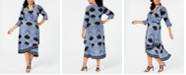INC International Concepts I.N.C. Plus Size Printed Faux-Wrap Midi Dress, Created for Macy's