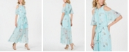 Calvin Klein Petite Floral-Print Cold-Shoulder Maxi Dress