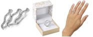 Charter Club Silver-Tone 3-Pc. Set Crystal Wavy Ring, Created For Macy's