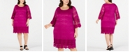 Alfani Plus Size Crochet-Trim Illusion Dress, Created for Macy's