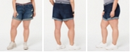Dollhouse Juniors' Plus Size Belted Denim Shorts