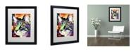 """Trademark Global Dean Russo 'Curiosity Cat' Matted Framed Art - 16"""" x 20"""" x 0.5"""""""