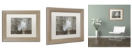 """Trademark Global Cora Niele 'White Feather on Rough Wood' Matted Framed Art - 14"""" x 11"""" x 0.5"""""""