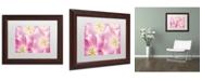 "Trademark Global Cora Niele 'Three Cerise Pink Tulips' Matted Framed Art - 14"" x 11"" x 0.5"""