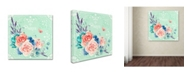 "Trademark Global Irina Trzaskos Studio 'Delicate Flowers I' Canvas Art - 14"" x 14"" x 2"""