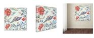 "Trademark Global Irina Trzaskos Studio 'Birds and Flowers II' Canvas Art - 18"" x 18"" x 2"""