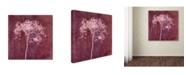 "Trademark Global Cora Niele 'Hortensia Silhouette Wine Red' Canvas Art - 14"" x 14"" x 2"""