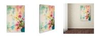 "Trademark Global Cora Niele 'Pink Flowers In Turqoise Vase' Canvas Art - 19"" x 12"" x 2"""