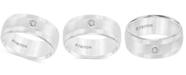 Triton Men's Diamond Wedding Band in White Tungsten Carbide (1/10 ct. t.w.)