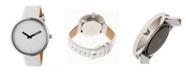 Simplify Quartz The 4000 Genuine White Leather Watch 43mm