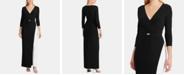 Lauren Ralph Lauren Two-Tone Belted Jersey Gown