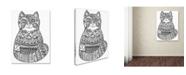 "Trademark Global Oxana Ziaka 'Green Folk Cat 1: LINE ART' Canvas Art - 19"" x 14"" x 2"""